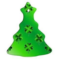 Shamrock Green Pattern Design Ornament (christmas Tree)  by Simbadda