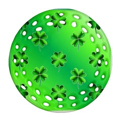 Shamrock Green Pattern Design Round Filigree Ornament (two Sides) by Simbadda