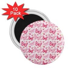 Cute Pink Flowers And Butterflies Pattern  2 25  Magnets (10 Pack)  by TastefulDesigns