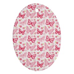 Cute Pink Flowers And Butterflies Pattern  Oval Ornament (two Sides) by TastefulDesigns