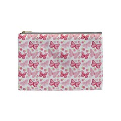 Cute Pink Flowers And Butterflies Pattern  Cosmetic Bag (medium)  by TastefulDesigns