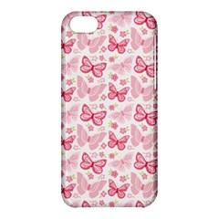 Cute Pink Flowers And Butterflies Pattern  Apple Iphone 5c Hardshell Case by TastefulDesigns