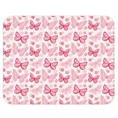 Cute Pink Flowers And Butterflies Pattern  Double Sided Flano Blanket (medium)  by TastefulDesigns