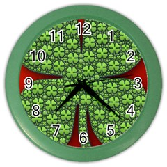 Shamrock Irish Ireland Clover Day Color Wall Clocks by Simbadda