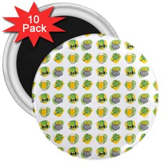 St Patrick S Day Background Symbols 3  Magnets (10 Pack)  by Simbadda