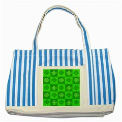 Fabric Shamrocks Clovers Striped Blue Tote Bag by Simbadda