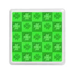 Fabric Shamrocks Clovers Memory Card Reader (square)  by Simbadda