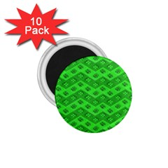 Shamrocks 3d Fabric 4 Leaf Clover 1 75  Magnets (10 Pack)  by Simbadda