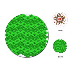 Shamrocks 3d Fabric 4 Leaf Clover Playing Cards (round)  by Simbadda