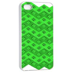 Shamrocks 3d Fabric 4 Leaf Clover Apple Iphone 4/4s Seamless Case (white) by Simbadda