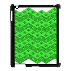 Shamrocks 3d Fabric 4 Leaf Clover Apple Ipad 3/4 Case (black) by Simbadda