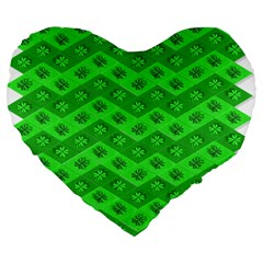 Shamrocks 3d Fabric 4 Leaf Clover Large 19  Premium Flano Heart Shape Cushions by Simbadda