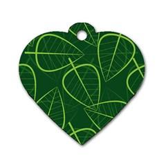 Vector Seamless Green Leaf Pattern Dog Tag Heart (two Sides) by Simbadda