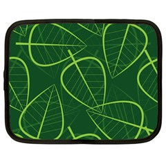 Vector Seamless Green Leaf Pattern Netbook Case (large)