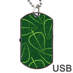 Vector Seamless Green Leaf Pattern Dog Tag Usb Flash (two Sides) by Simbadda