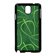 Vector Seamless Green Leaf Pattern Samsung Galaxy Note 3 Neo Hardshell Case (black) by Simbadda