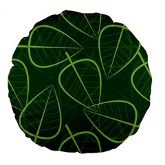 Vector Seamless Green Leaf Pattern Large 18  Premium Flano Round Cushions by Simbadda