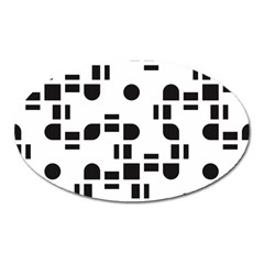 Black And White Pattern Oval Magnet by Simbadda