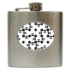 Black And White Pattern Hip Flask (6 Oz) by Simbadda