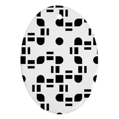 Black And White Pattern Oval Ornament (two Sides) by Simbadda