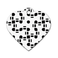 Black And White Pattern Dog Tag Heart (one Side) by Simbadda
