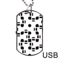 Black And White Pattern Dog Tag Usb Flash (two Sides) by Simbadda