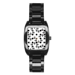 Black And White Pattern Stainless Steel Barrel Watch by Simbadda
