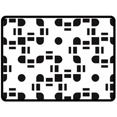 Black And White Pattern Double Sided Fleece Blanket (large)  by Simbadda