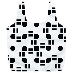 Black And White Pattern Full Print Recycle Bags (l)  by Simbadda