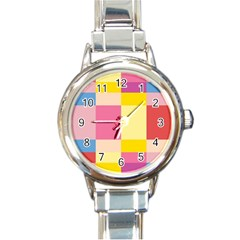 Colorful Squares Background Round Italian Charm Watch by Simbadda