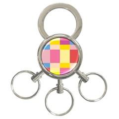 Colorful Squares Background 3 Ring Key Chains by Simbadda