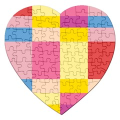 Colorful Squares Background Jigsaw Puzzle (heart) by Simbadda