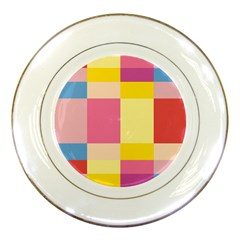 Colorful Squares Background Porcelain Plates by Simbadda