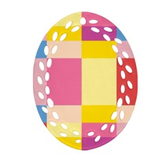 Colorful Squares Background Oval Filigree Ornament (two Sides) by Simbadda