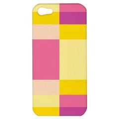 Colorful Squares Background Apple Iphone 5 Hardshell Case by Simbadda