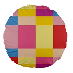 Colorful Squares Background Large 18  Premium Round Cushions by Simbadda