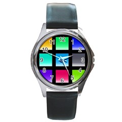 Colorful Background Squares Round Metal Watch by Simbadda