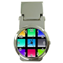 Colorful Background Squares Money Clip Watches by Simbadda
