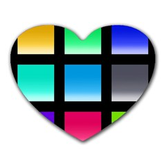 Colorful Background Squares Heart Mousepads by Simbadda