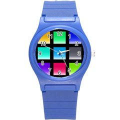Colorful Background Squares Round Plastic Sport Watch (s) by Simbadda