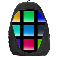 Colorful Background Squares Backpack Bag by Simbadda