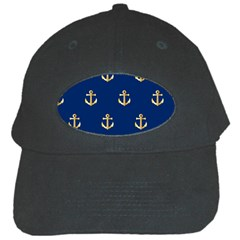 Gold Anchors On Blue Background Pattern Black Cap by Simbadda