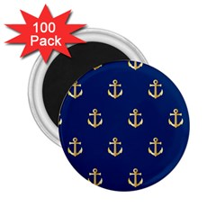 Gold Anchors On Blue Background Pattern 2 25  Magnets (100 Pack)  by Simbadda