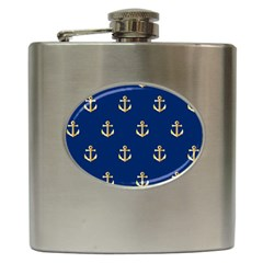 Gold Anchors On Blue Background Pattern Hip Flask (6 Oz) by Simbadda