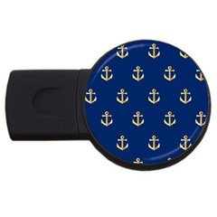 Gold Anchors On Blue Background Pattern Usb Flash Drive Round (2 Gb) by Simbadda