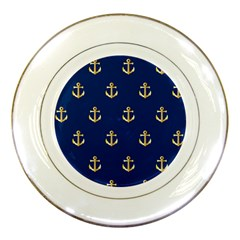 Gold Anchors On Blue Background Pattern Porcelain Plates by Simbadda