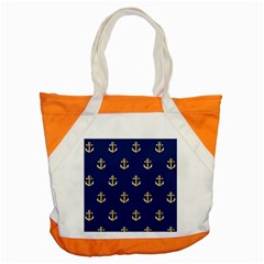 Gold Anchors On Blue Background Pattern Accent Tote Bag by Simbadda