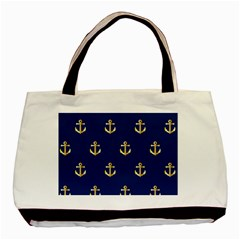 Gold Anchors On Blue Background Pattern Basic Tote Bag (two Sides) by Simbadda
