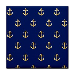 Gold Anchors On Blue Background Pattern Face Towel by Simbadda