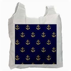 Gold Anchors On Blue Background Pattern Recycle Bag (two Side)  by Simbadda